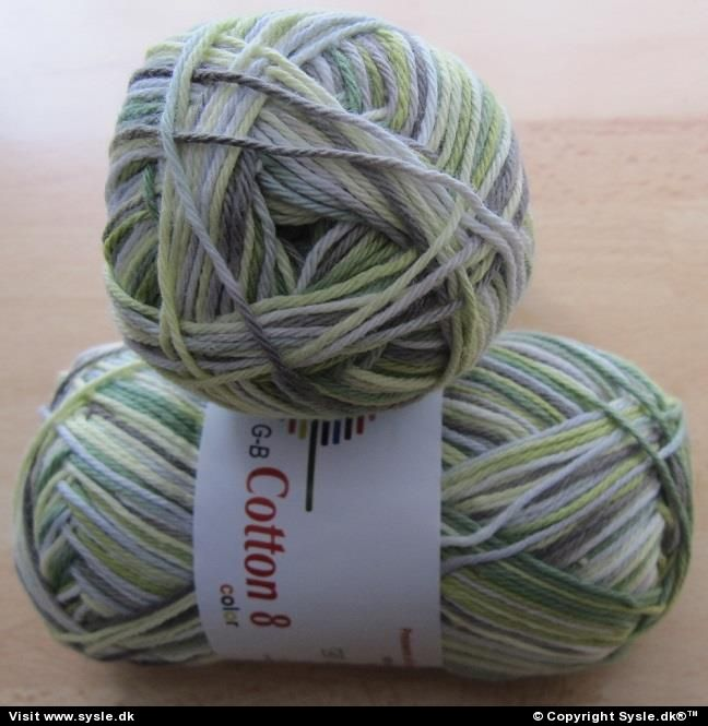 0005 - Cotton 8/4 - Grøn/lime/grå Meleret - 50g 1ng.